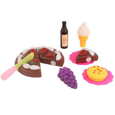 Pretend Role Play Kitchen Toy Happy Birthday Cake Food Cutting Set Kids