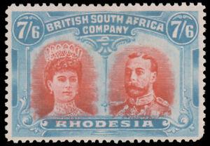 RHODESIA 1910 7sh DOUBLEHEAD MINT #116 well-centered o.g. MHR $725.00