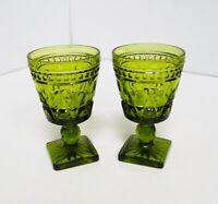"Vintage Green Goblet Glass Drinkware Wine Goblets 4.5"" PAIR"