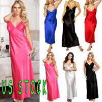 Plus size Womens Lace Satin Nightdress Nightgown Babydoll Sleepwear Underwear Us