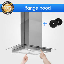 "Range Hood Carbon Filter Stainless Steel Tempered Glass Panel 30"" Kitchen Island"