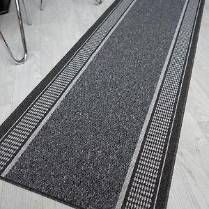 robuster Teppich Läufer TIM ELBA anthrazit 80 cm breit rutschfest