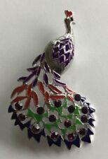 Signed Ali Lang Silver Tone Purple Red Green Enamel & Purple Rhinestone Brooch