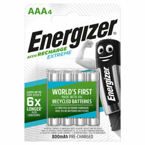 4 x Energizer Rechargeable AAA batteries Accu Recharge Extreme NiMH 800mAh HR03