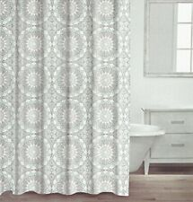 Caro Home Shower Curtain - Geometric Floral Circle Pattern - Gray, Aqua & White!