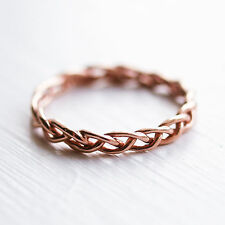 Rose Gold Sterling Silver Twisted Plaited Midi Ring Above the Knuckle 925 UK