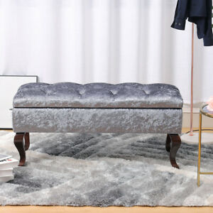 Crushed Velvet Ottoman Storage Bench Stool Bed End Seat Chair Window Sofa Side