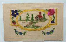 1914-18 Great War WW1 Silk Embroidered postcard Church scene