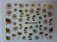 3D Nail Art Lace Stickers Decals Transfers GOLD Palm Trees Flowers Exotic HBY46G