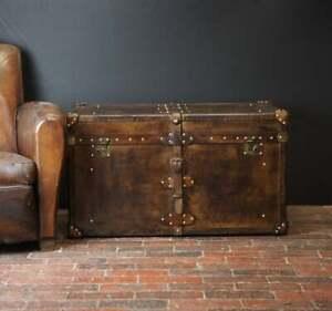 Handmade English Tan Leather Coffee Chest Coffee Table Trunk Box TW