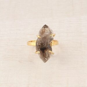 Brown Natural Rough Herkimer Diamond Yellow Gold Plated Handmade Adjustable Ring