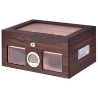 Cigar Humidor Storage Case Safe Display Box Desktop Cedar Glasstop Lockable Wood