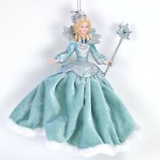 Snow Princess Teal Velvet Christmas Ornament NEW