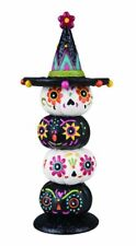 Day Of The Dead Stacked Pumpkins Halloween Figurine Decor