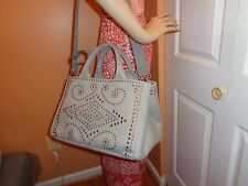 NWT PRADA LARGE DENIM NUBE (Light Grey) STUDDED RHINESTONE Tote Shoulder BN2642