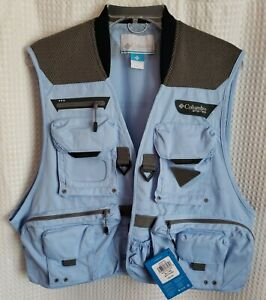 Columbia PFG Henry's Fork V Fly Fishing Vest Men's XL Light Blue NEW NWT