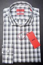 5f92ac2ab Hugo Boss Mens Jason Slim Fit Black Plaids Cotton Dress Casual Shirt 44 17.5