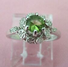Estate Handcrafted Genuine 5mm Round Peridot Sterling Silver 925  Ring skaisMY16