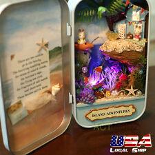 MINI DIY Wooden Dolls house LED KT Light Miniature Model KIT Handcraft Case Gift