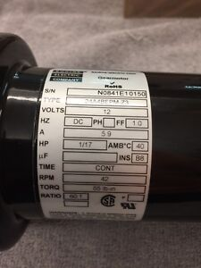 "BODINE REVERSIBLE GEAR MOTOR 12 VOLTS DC 60:1 RATIO SPEED REDUCER  1/2"" SHAFT"