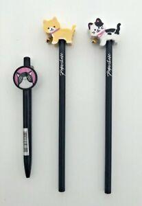 2 x Paperchase Cat Eraser Pencils + Cat Clip Pen Set Kids School Stationery Set