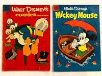 WALT DISNEY'S COMICS & STORIES #200 & MICKEY MOUSE #42 DELL 10 CENT VINTAGE 1957