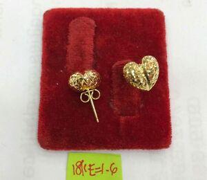 Gold Authentic 18k saudi gold heart earrings