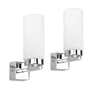 Modern Lounge Wall Light Fittings 2x Chrome Cylinder Frosted Glass Home Lighting