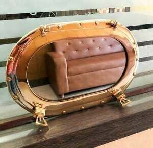 Antique Oval Brass Porthole Shiny Brass Gold Finish Port Mirror Wall Hanging