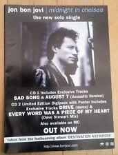 JON BON JOVI Midnight In Chelsea magazine ADVERT/Poster/clipping 11x8 inches