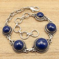 "Lapis Lazuli Unisex Bracelet 7 7/8"" 925 Silver Plated Over Solid Copper, Natural"