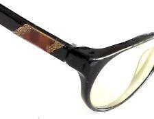 Vintage Hong Kong Eyeglasses Frames Plastic Metal Side Detail Black Nice