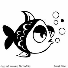 Bathroom tiles decor wall art vinyl sticker Animated fish window glass LB_008