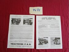 """N° 4435 / prospectus l'attelage automatique """"Cheval mécanique"""" tracteurs F.A.R"""