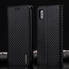 Coque Pour iPhone 6S 7 8 Xs Fibre de Carbone Portefeuille Slim Antichoc Bumper