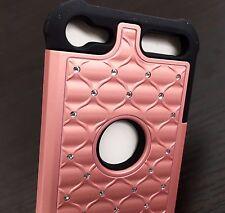 For iPod Touch 5th 6th Gen - HARD&SOFT HYBRID DIAMOND BLING CASE ROSE GOLD BLACK