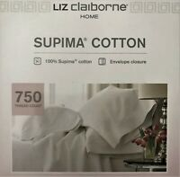 King Bed Sheets, 750 TC, Supima Cotton, Silver Blue, By Liz Claiborne