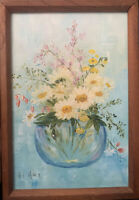 "Daises In A Glass Vase Vintage Painting, Signed Vel Miner, 10""x7"",Framed"