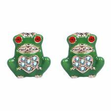 Green Frog AB Rhinestones Heart Fashion Women Girl Stud Beautiful Earrings E1214