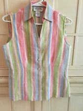 Jones New York Country-100% Linen- Pastel Vertical Stripe-blouse-Sz.4P
