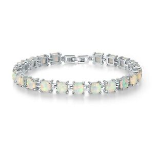 """Stunning Sterling Silver Dipped Square White Fire Opal Tennis Bracelet 7.5-8"""""""