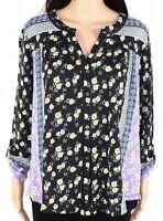 Style & Co Womens Peasant Top Black Purple 2X Plus Floral Split-Neck $49 272