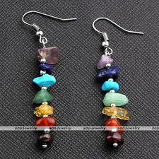 2x Natural Chakra Irregular Gemstone Stone Bead Reiki Drop Dangle Hook Earrings