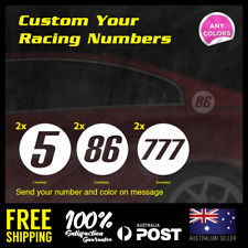 2x Custom 120mm Circle Racing Number Car Motorcycle Bike Decal Sticker MX #1