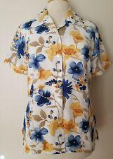 Claudia Richard Womens Small Short Sleeve Floral Sheer Blouse Top Shirt Flower