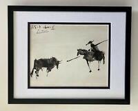 PABLO PICASSO + SUPERB 1961 SIGNED TOREROS PRINT MATTED 11 X 14 + LIST $695