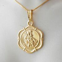 St Christopher Hallmarked 9k Yellow Gold Pendant Charm 375 Saint of Travellers