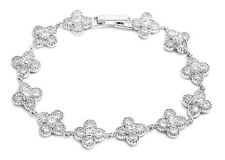 """Flower Bracelet with Clear Cubic Zirconia Sterling Silver 925 Jewelry Gift 7.5"""""""