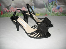 New ANN MARINO Black Leather w Suede Flowers Slingback Sandals 7.5