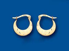 Gold Hoop Earrings Creole Yellow Gold Satin Diamond Cut 13mm Hallmarked